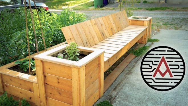 reclaimed cedar planter benchraised bed woodworking