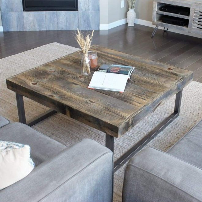 reclaimed wood and metal square coffee table tube steel legs free shipping