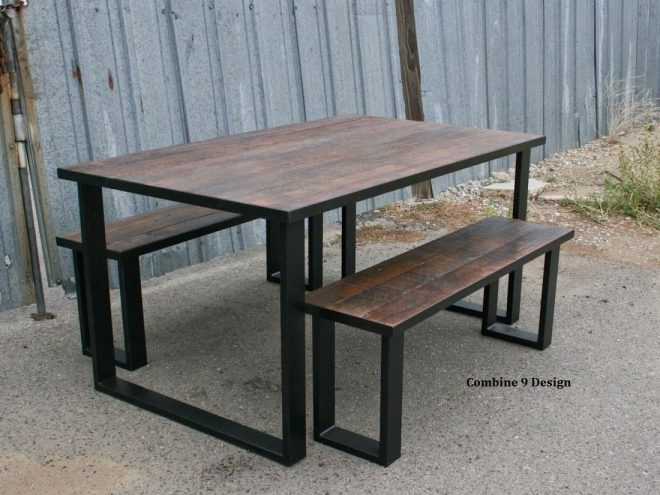 reclaimed wood dining set industrial steel rustic farmhouse table bench benches