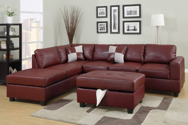 red leather sectional sofa and ottoman steal a sofa furniture
