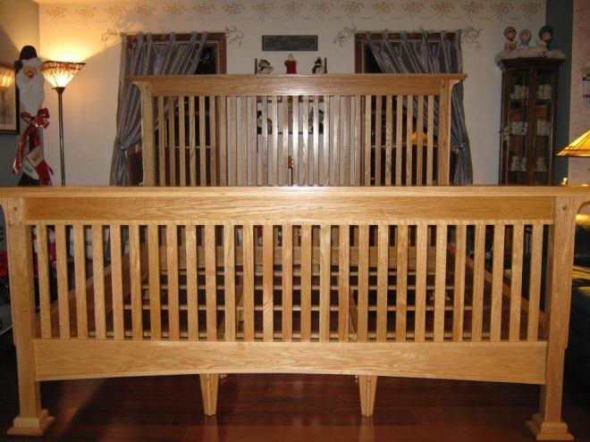 red oak king size mission style bed finewoodworking