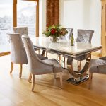 renata marble and chrome dining table 6 silver louis chairs
