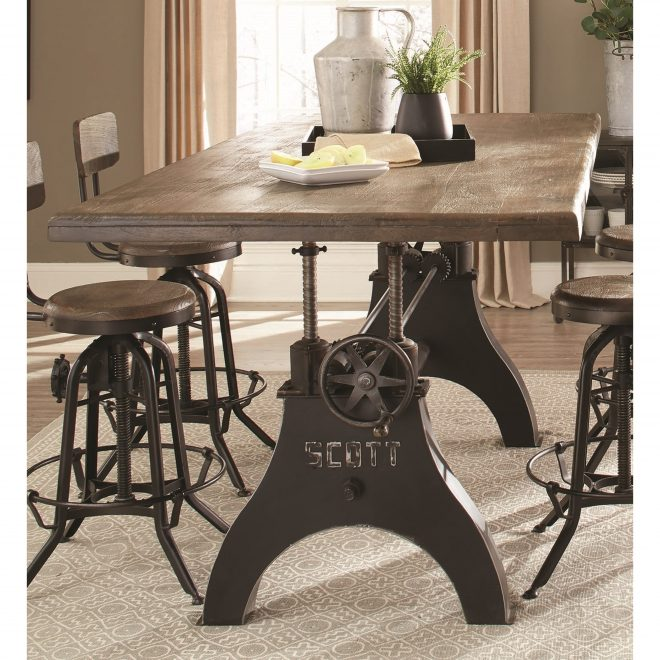 retro industrial cast iron milling machine inspired adjustable height dining table