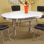retro oval white top dining table with chrome legs