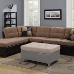 reversible casual tan microfiber and brown faux leather sectional sofa with pillows