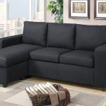 reversible sectional black linen sofa ottoman modern f7490