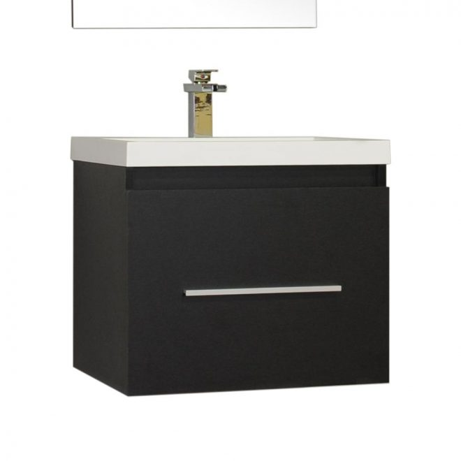 ripley 24 in single wall mount modern bathroom vanity in black with vanity top in white with white basin without mirror