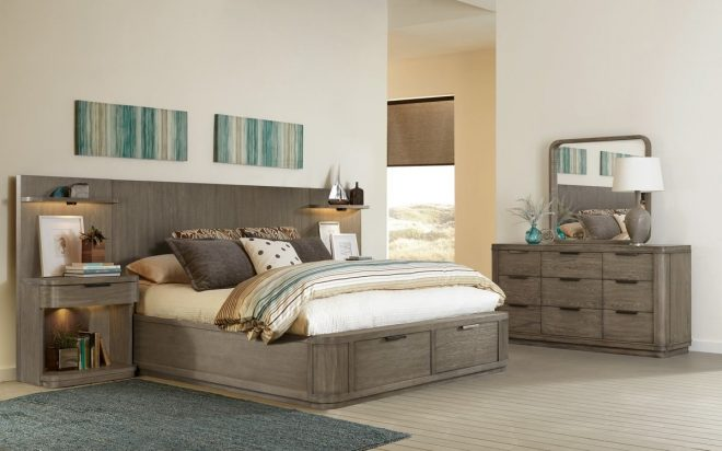 riverside furniture precision 4pc low storage bedroom set in washed gray