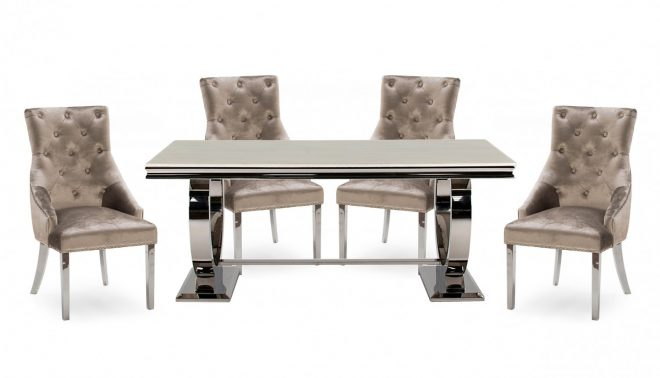 romance cream 2m dining table with 4 chairs