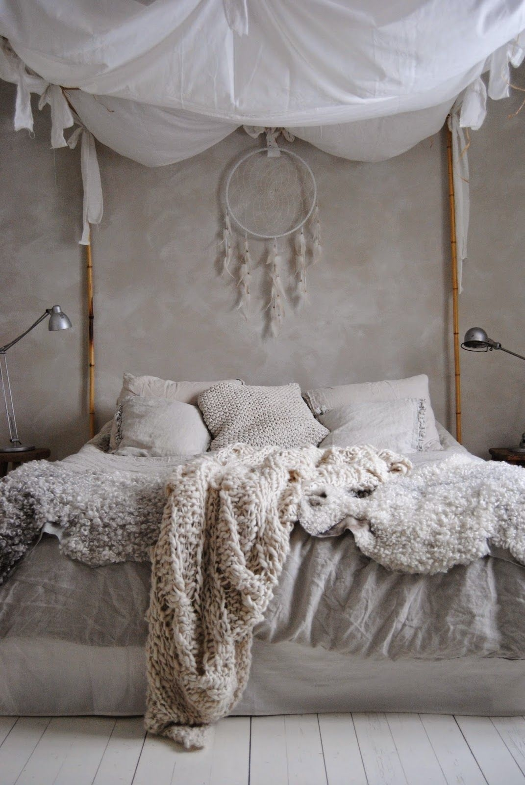 romantic boho bedroom canopy bed w bamboo sticks chunky cream
