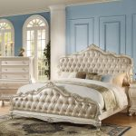rose gold pearl white queen bed chantelle 23540q acme classic