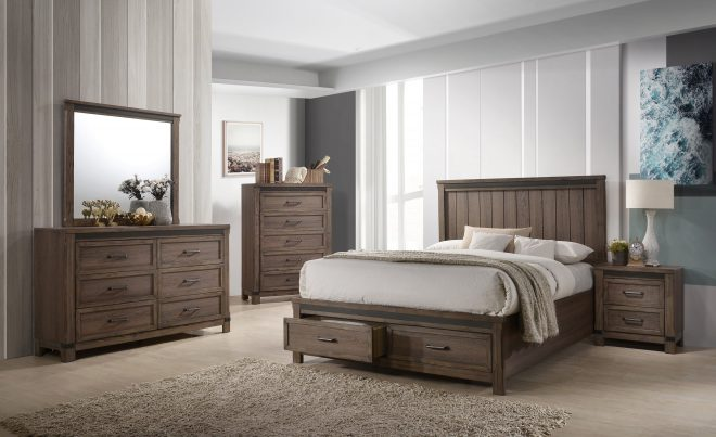 rossco 5 piece king bedroom set rustic oak in 2019 queen