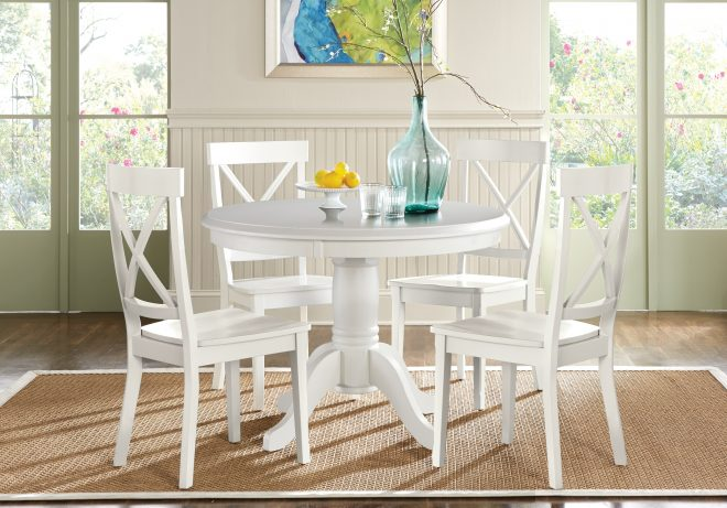 round kitchen table set oval rooms to go brynwood white pc