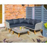 rowlinson hanoi corner sofa set with wooden legs