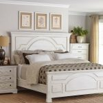 rustic 4 pc white wood queen bed nightstand dresser mirror bedroom furniture set
