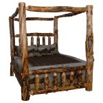 rustic aspen log canopy bed