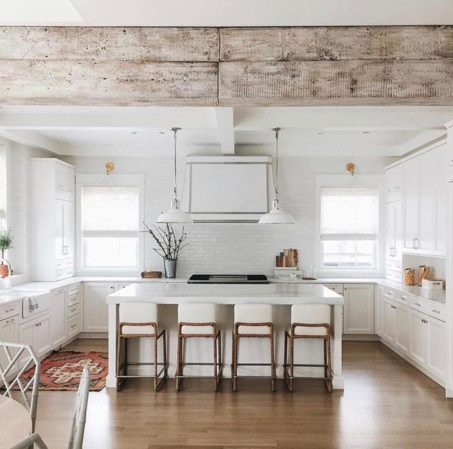 rustic beam in white modern farmhouse kitchen barn beams