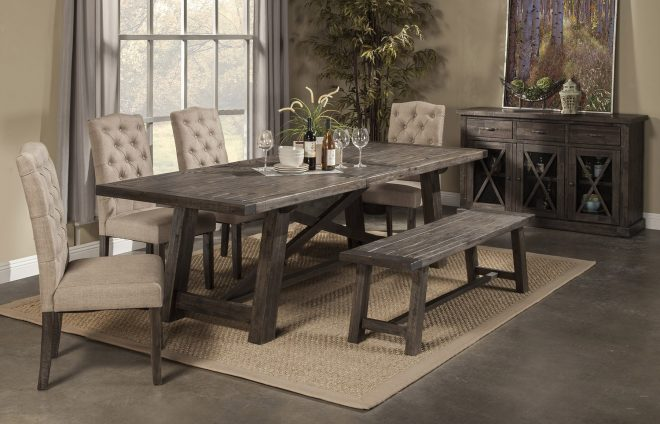 rustic dining room table with bench and chairs amazing 4