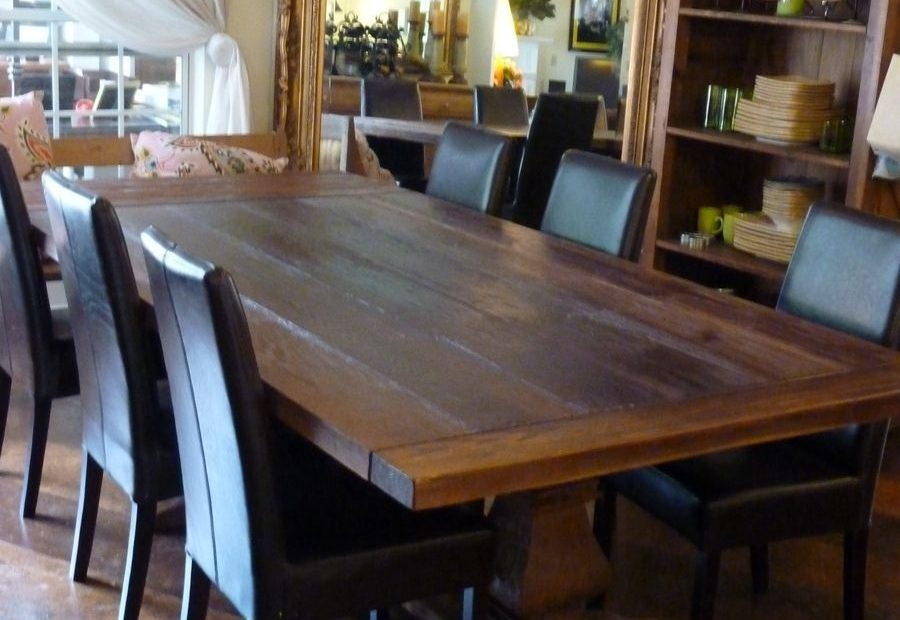 rustic dining table made from reclaimed pine
