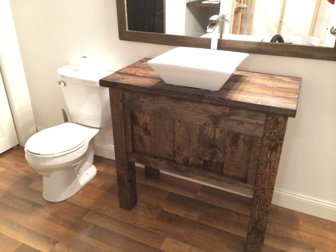 rustic farmhouse bathroom vanity with vessels sink and free