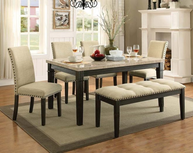 rustic formal dining room set greystone marble 5 piece