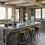 rustic kitchen cabinetry concrete counter