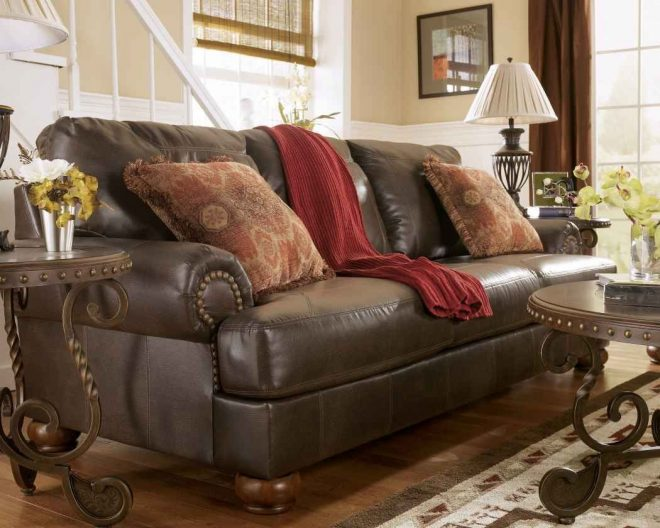 rustic leather living room furniture sets brown couch