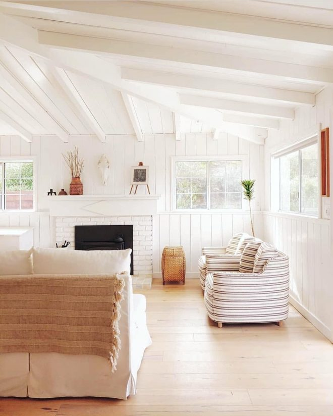 rustic modern living room white wood beam ceiling and