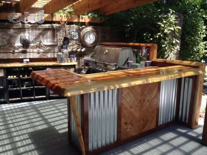 rustic outdoor kitchen and bar outdoor kitchen ideas corrugated