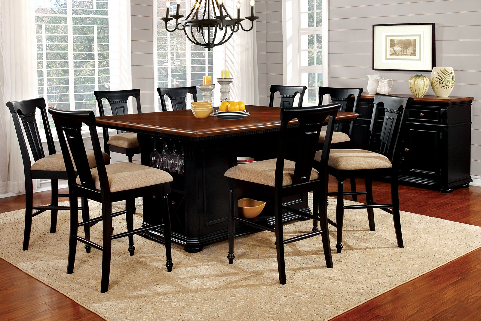 sabrina country style 9pc cherry black finish counter height dining table set
