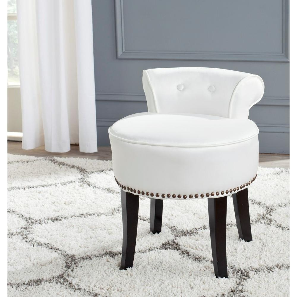 safavieh georgia white poly cotton vanity stool mcr4546t the home