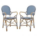 safavieh hooper stacking aluminum outdoor dining chair in navy and white set of 2