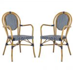 safavieh rosen stacking aluminum outdoor dining chair in navy and white set of 2