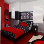 samples for black white and red bedroom decorating ideas