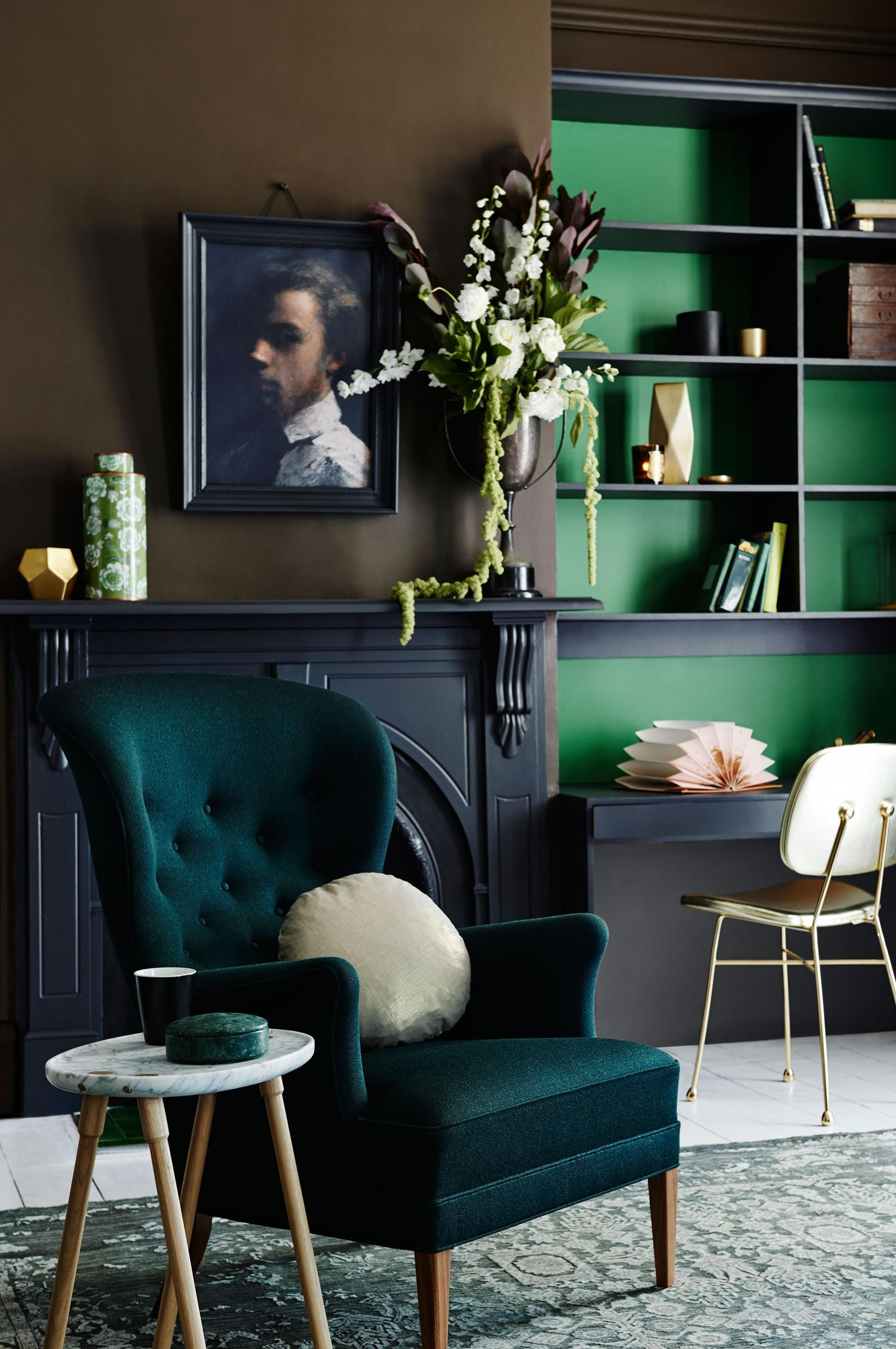 saturated green brown and black color inspiration home