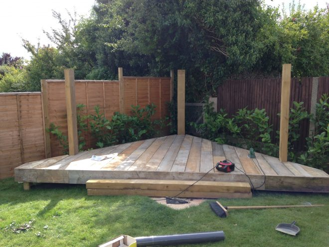 scaffold triangular decking area decking area outdoor