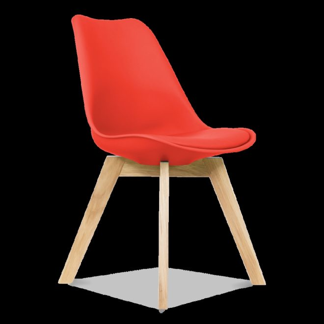 scandi designs red dining chairs with solid oak crossed wood
