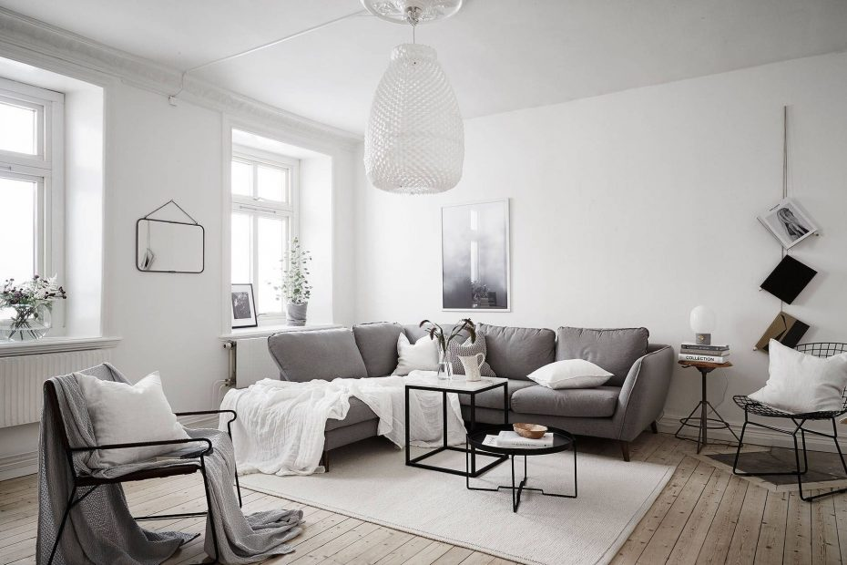 scandinavian living room with large pendant lamp top 10