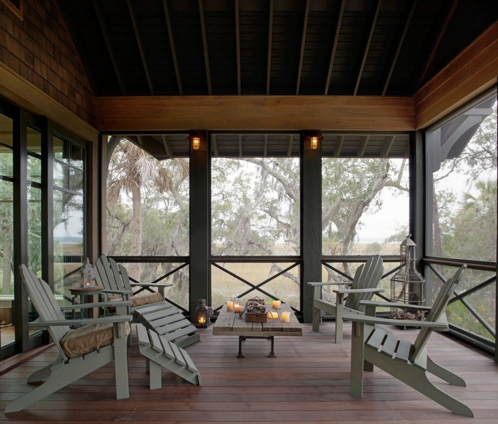 screened porch lighting ideas eclectic porch with adirondack chairs