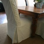 scrolled back parson chairs in white duck cloth dining