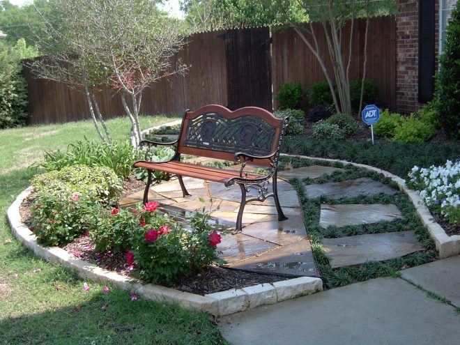 seating area in your front yard nested into the landscape