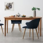 set of 2 sigrid dining chairs royal blue velvet and oak