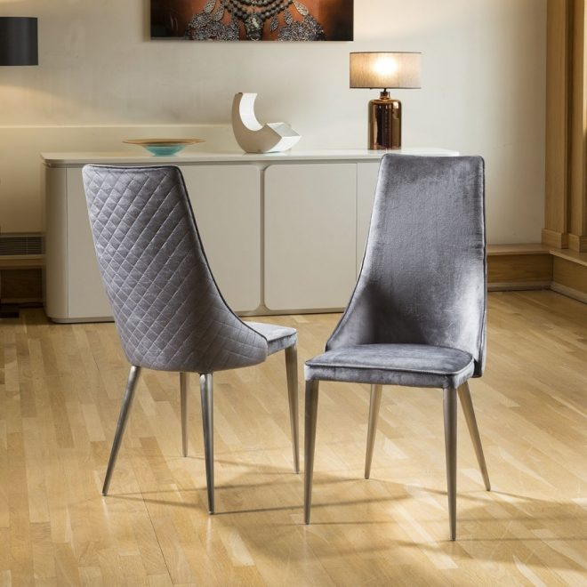set of 2 sleek velvet high back modern dining chairs grey fabric p1441