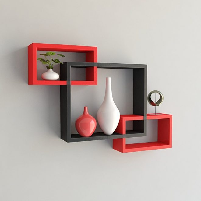 set of 3 rectangular intersecting floating wall shelves for storage display red black