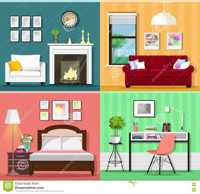 set of colorful graphic room interiors with furniture icons