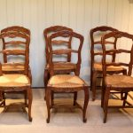 set of six french cherry wood dining chairs