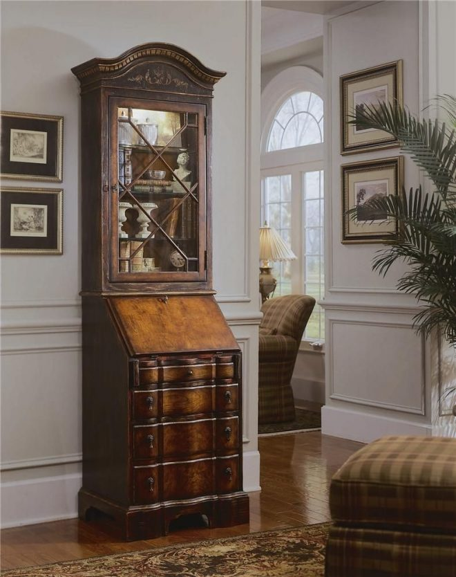 seven seas secretary desk wdisplay hutch hooker furniture
