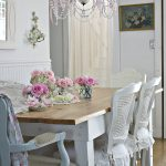 shab chic dining room with rose bedecked table everything looks