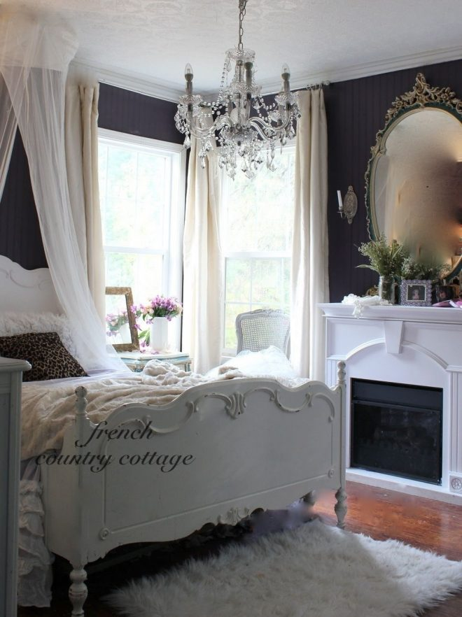 shab chic french style navy and white bedroom dans la