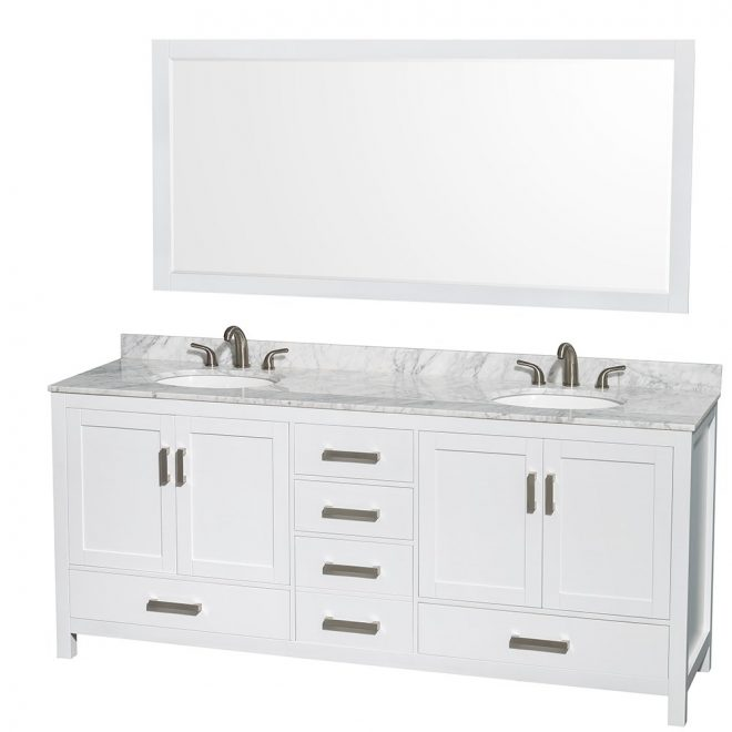 sheffield 80 double bathroom vanity wyndham collection white